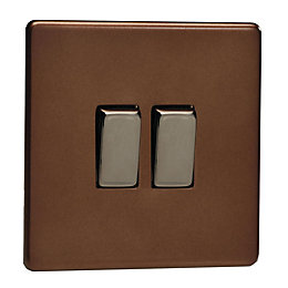 Varilight 10A 2-Way Double Mocha Satin Light Switch