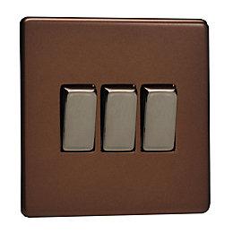 Varilight 10A 2-Way Triple Mocha Satin Light Switch