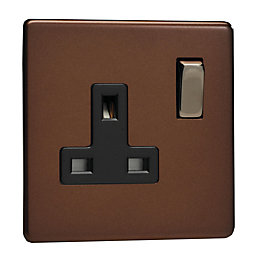 Varilight 13A Mocha Switched Single Socket