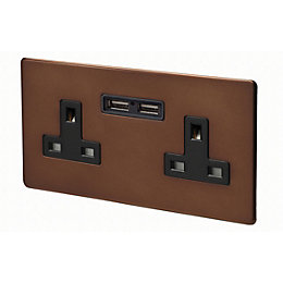 Varilight 13A Mocha Unswitched Double Socket & 2