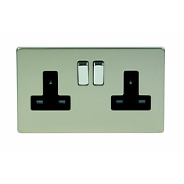 Varilight 13A Satin Switched Double Socket