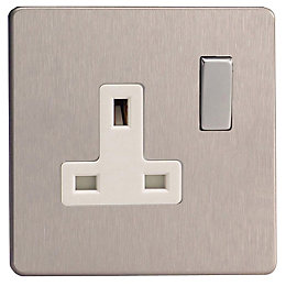 Varilight 13A Brushed Steel Switched Single Socket