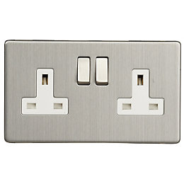 Varilight 13A Brushed Steel Switched Double Socket