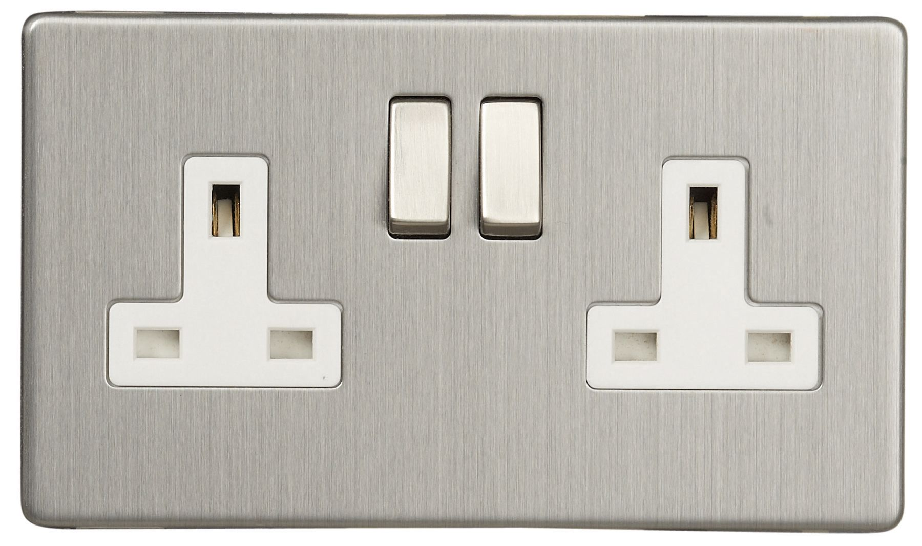 Varilight Screwless Brushed Stainless Steel//White 2 Gang Double Switched Socket