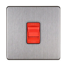Varilight 45A 1-Way Single Brushed Steel Switch