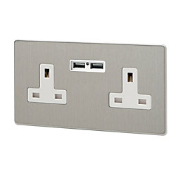 Varilight 13A Brushed Steel Unswitched Double Socket &