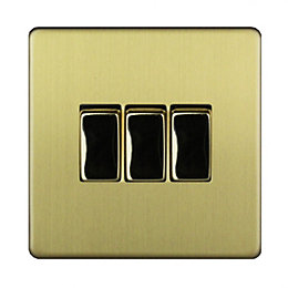 Varilight 10A 2-Way Single Brushed Brass Effect Switch