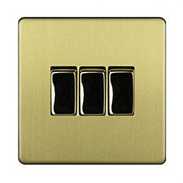 Varilight 10A 2-Way Single Brushed Brass Effect Switch