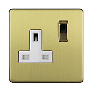 Varilight 13A Single Brushed gold effect Plug socket