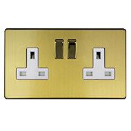 Varilight 13A Double Brushed gold effect Plug socket
