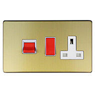 Varilight 45A Double poleBrushed brass effect Cooker switch
