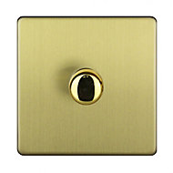 Varilight 2-Way Single Brushed gold effect Dimmer switch