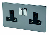 Varilight 13A Slate grey Switched Double Socket