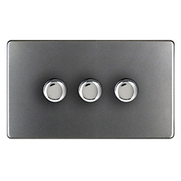 Varilight 2-Way Double Grey Slate Effect Switch