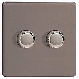 Varilight 2-Way Double Slate Grey Satin Dimmer Switch