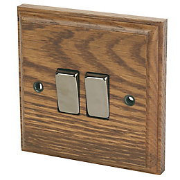 Varilight 10A 2-Way Double Medium Oak Light Switch