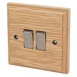 Varilight 10A 2-Way Double Oak Light switch