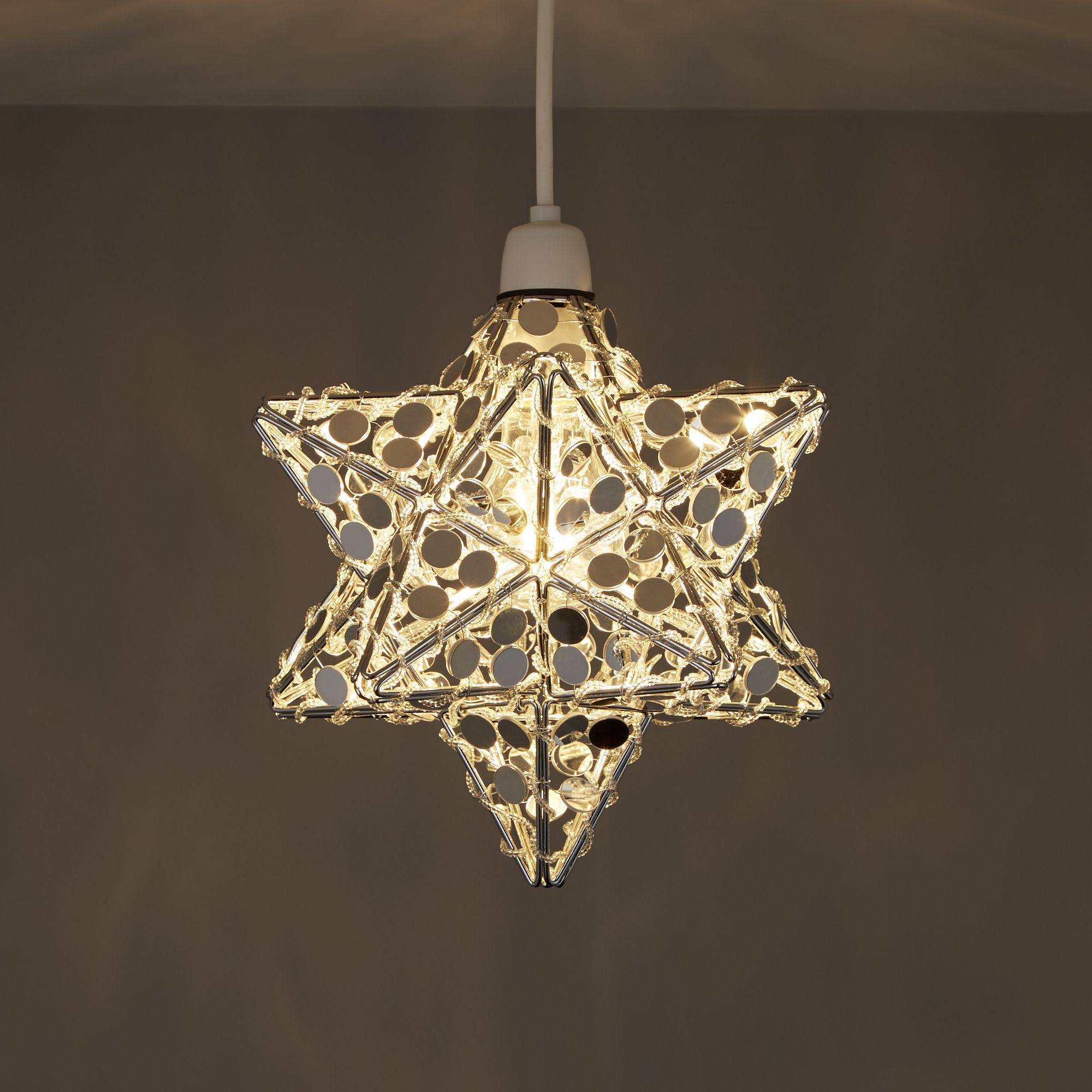Chrome effect mirrored star ceiling light departments diy at bq greentooth Images