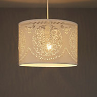 Ivory Doily cylinder Pendant light shade (D)300mm
