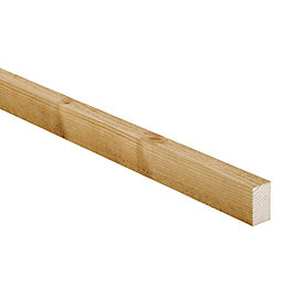 Treated sawn timber (T)25mm (W)38mm (L)2400mm Pack of