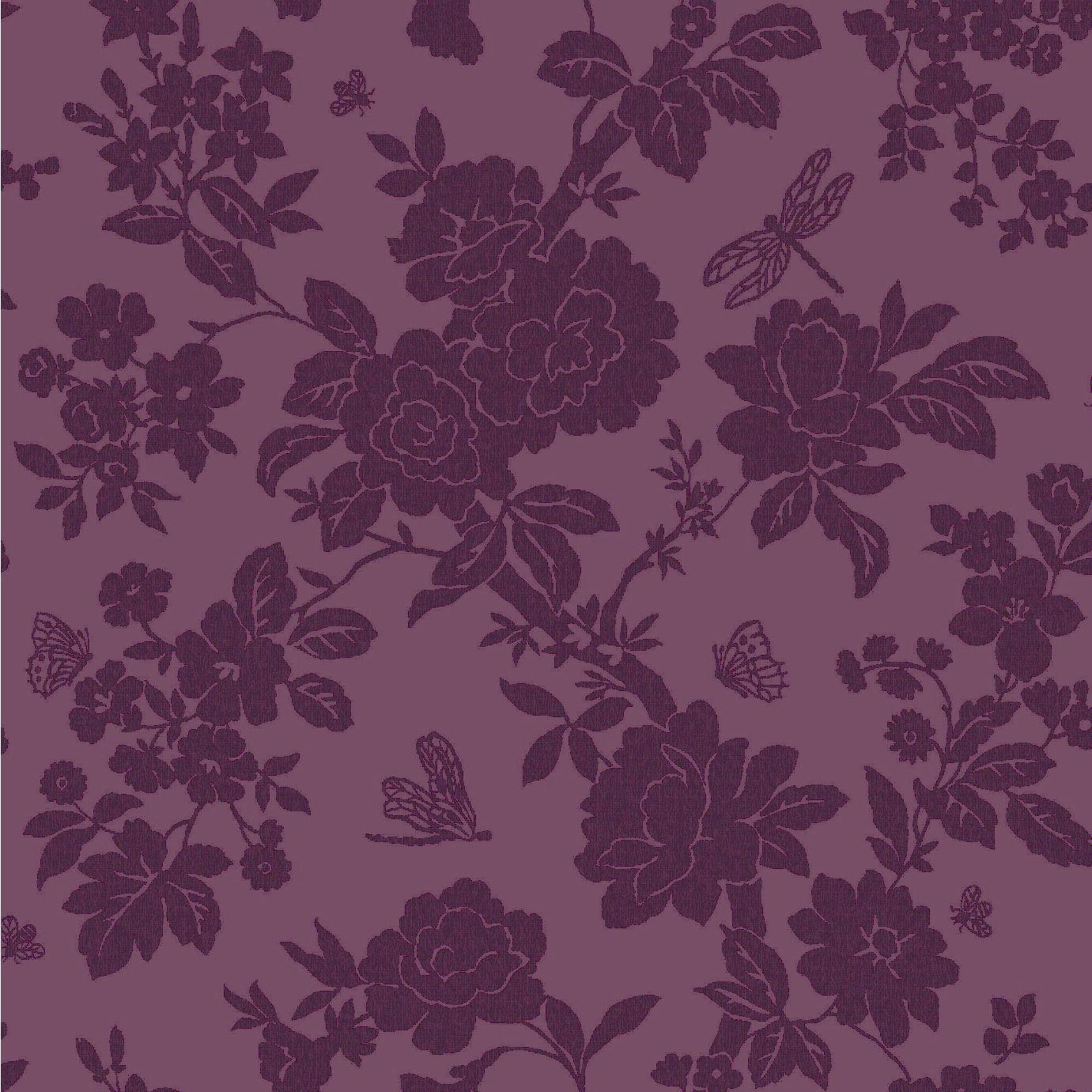 Nina purple floral wallpaper departments diy at b q for Purple kitchen wallpaper