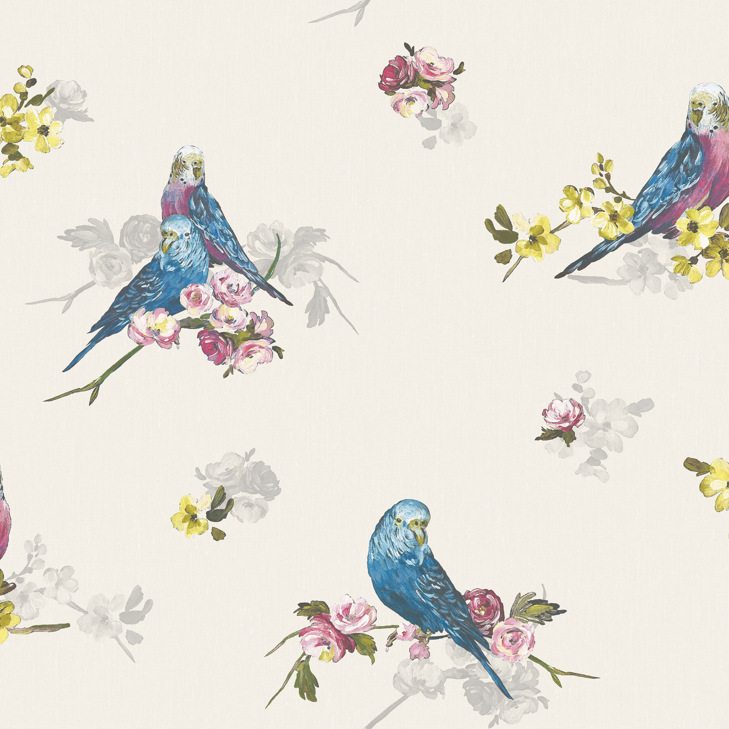 Statement Budgie Blue Amp Grey Floral Birds Wallpaper