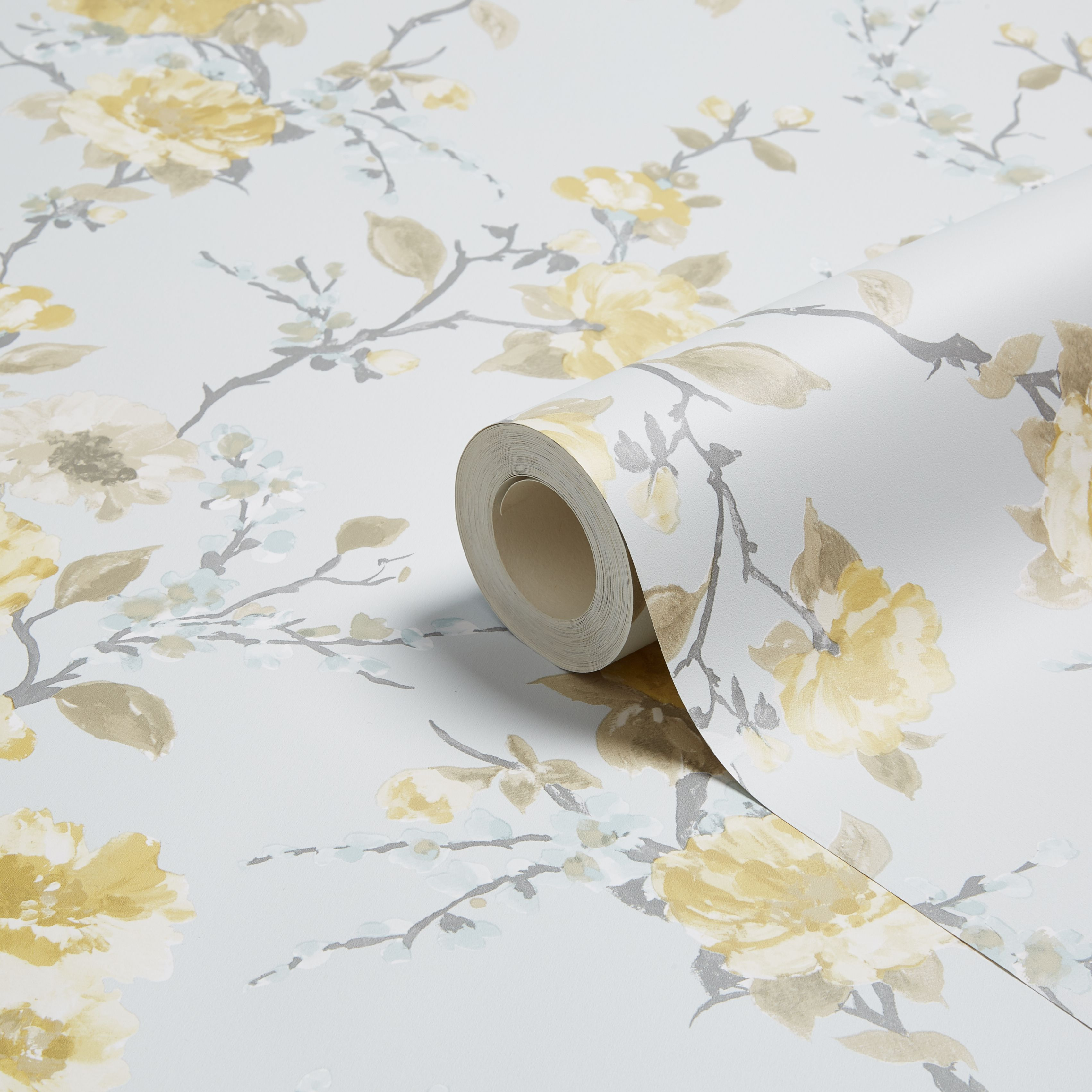 K2 Lucy Duck Egg Yellow Floral Smooth Wallpaper Departments
