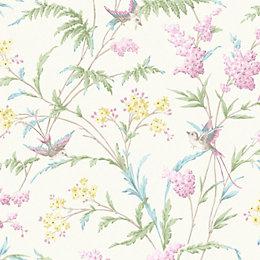 Hailey Cream & Pink Floral Birds Glitter Highlight