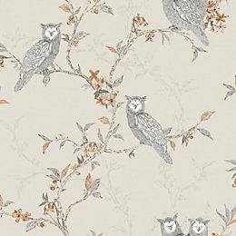 Sleepy Owls Cream Floral Birds Glitter Effect Wallpaper