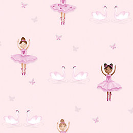 Holden Décor Pink Dancers Glitter Effect Wallpaper