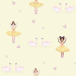 Holden Décor Yellow Dancers Glitter Effect Wallpaper