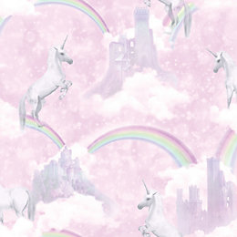 Holden Decor Pink Unicorn Glitter Effect Wallpaper