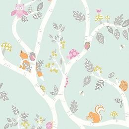 Holden Décor Teal Animals Glitter Effect Wallpaper