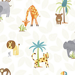 Holden Décor Multicolour Jungle Animals Matt Finish Wallpaper