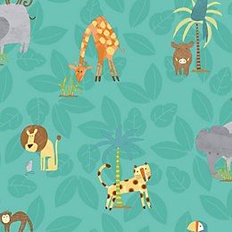 Holden décor Teal Jungle animals Wallpaper