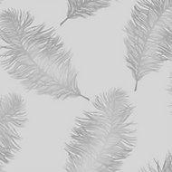 Statement Grey Feather Metallic Wallpaper