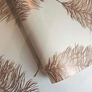 Statement Cream Feather Metallic Wallpaper