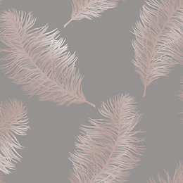 Statement Grey Feather Metallic Gold Effect Wallpaper