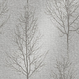 Opus Grey Metallic Silver Effect Wallpaper