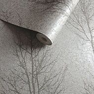 Opus Grey Tree Metallic Wallpaper