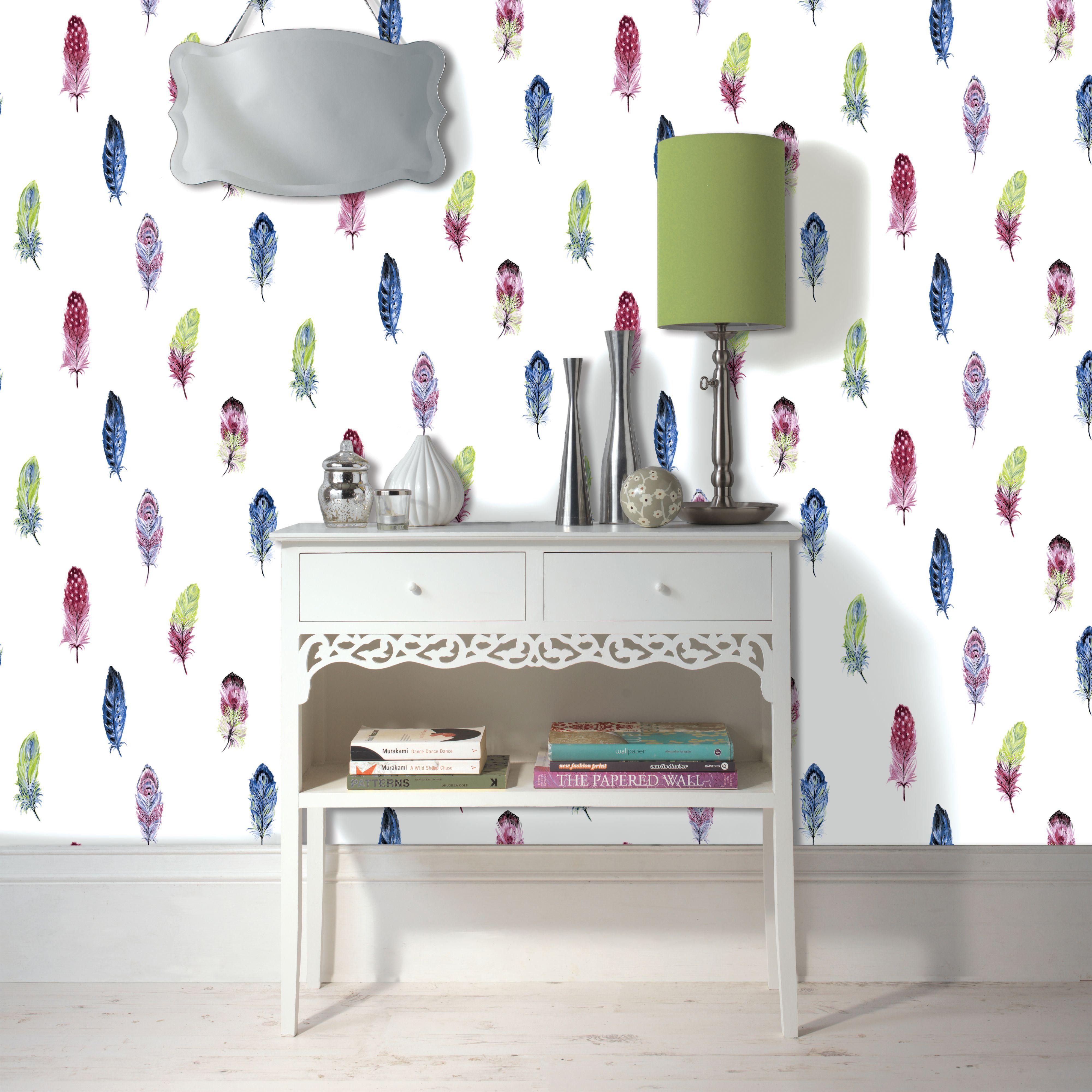 k2 feather wallpaper departments diy at b q. Black Bedroom Furniture Sets. Home Design Ideas