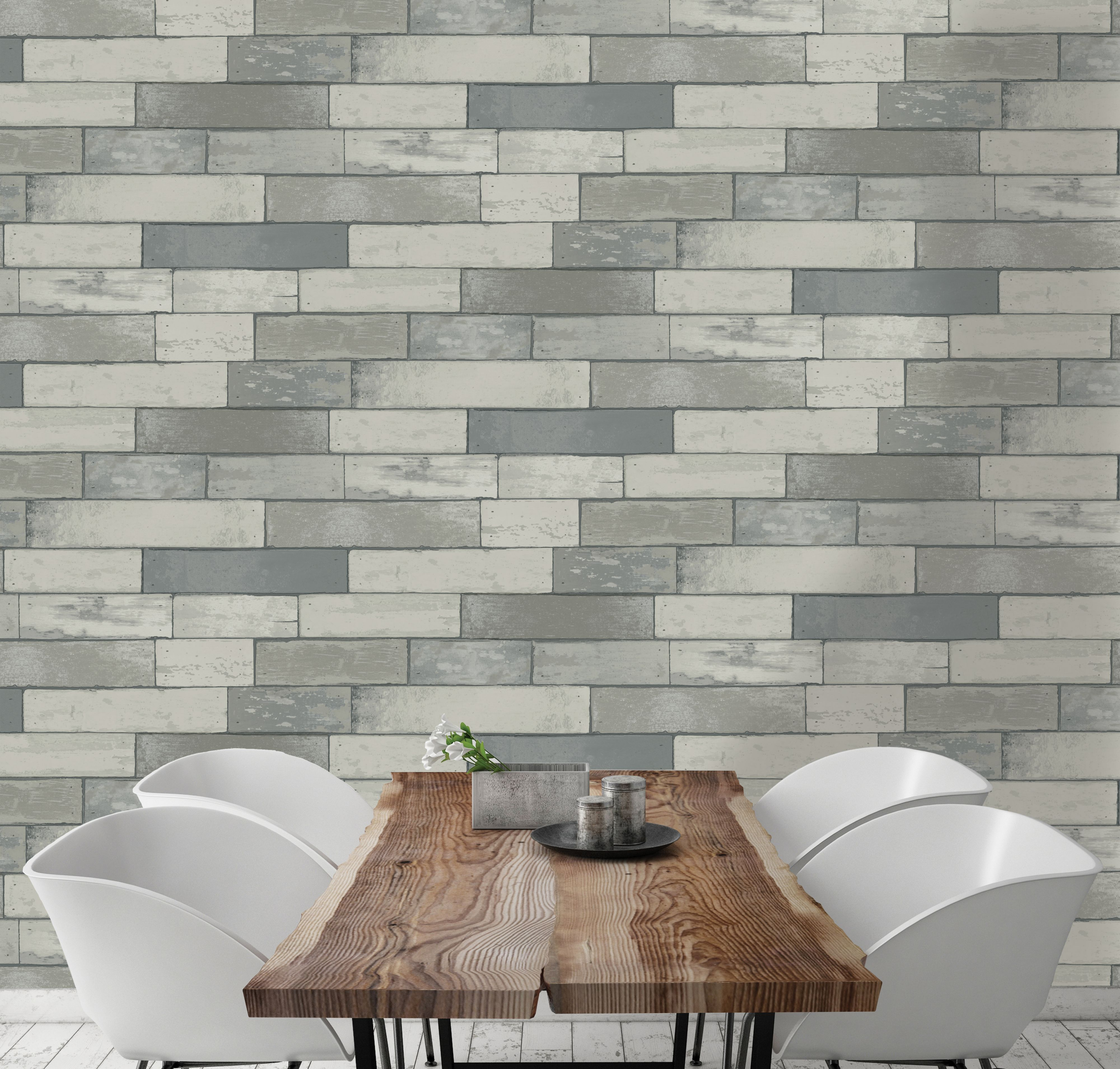 Cornish Stone Effect Wallpaper From B Q: K2 Silver Effect Wood Panel Metallic Effect Wallpaper