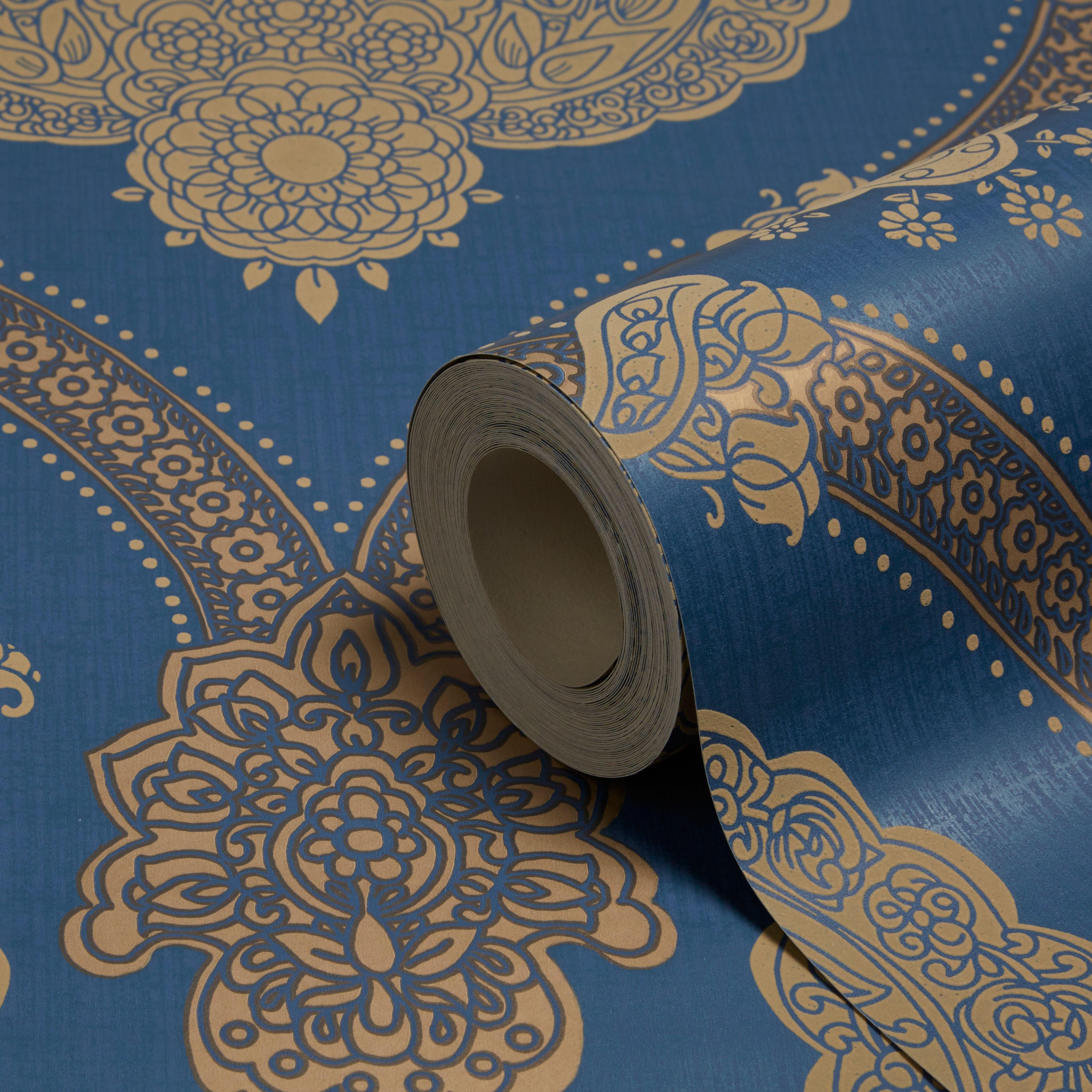 Holden Decor Moselle Blue Damask Wallpaper