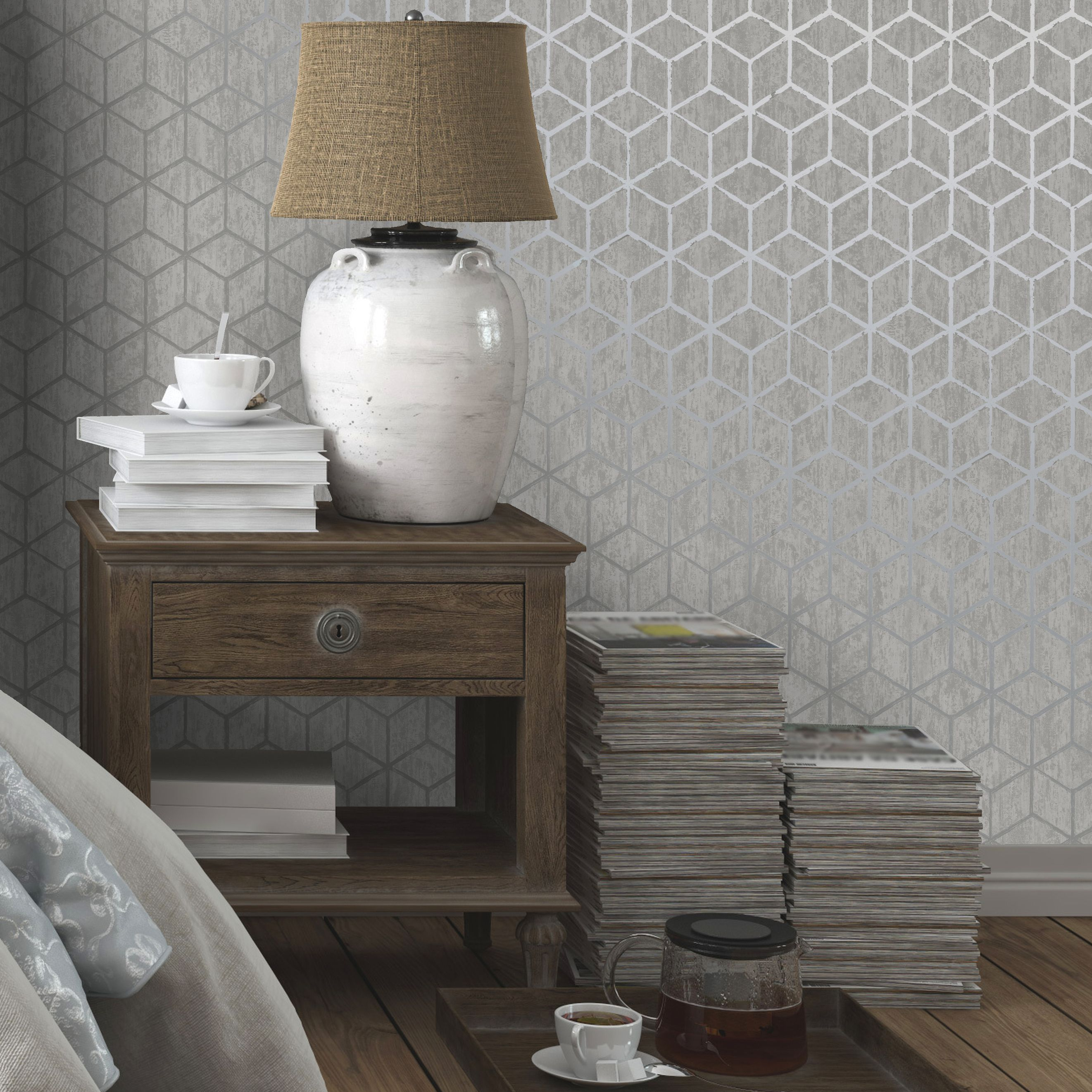 Statement Silver Effect Rochester Metallic Wallpaper