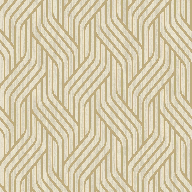 Pembrey Gold Geometric Glitter Highlight Wallpaper
