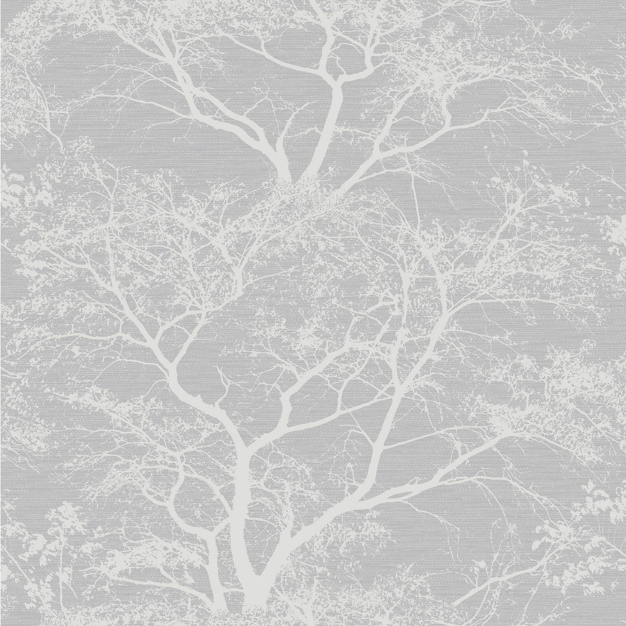 Holden Grey Whispering Trees Glitter Effect Textured Wallpaper