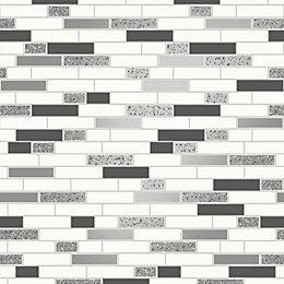 Holden Décor Grey & White Tile Silver Effect