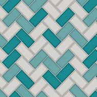 Holden décor Teal & white Tile effect Wallpaper