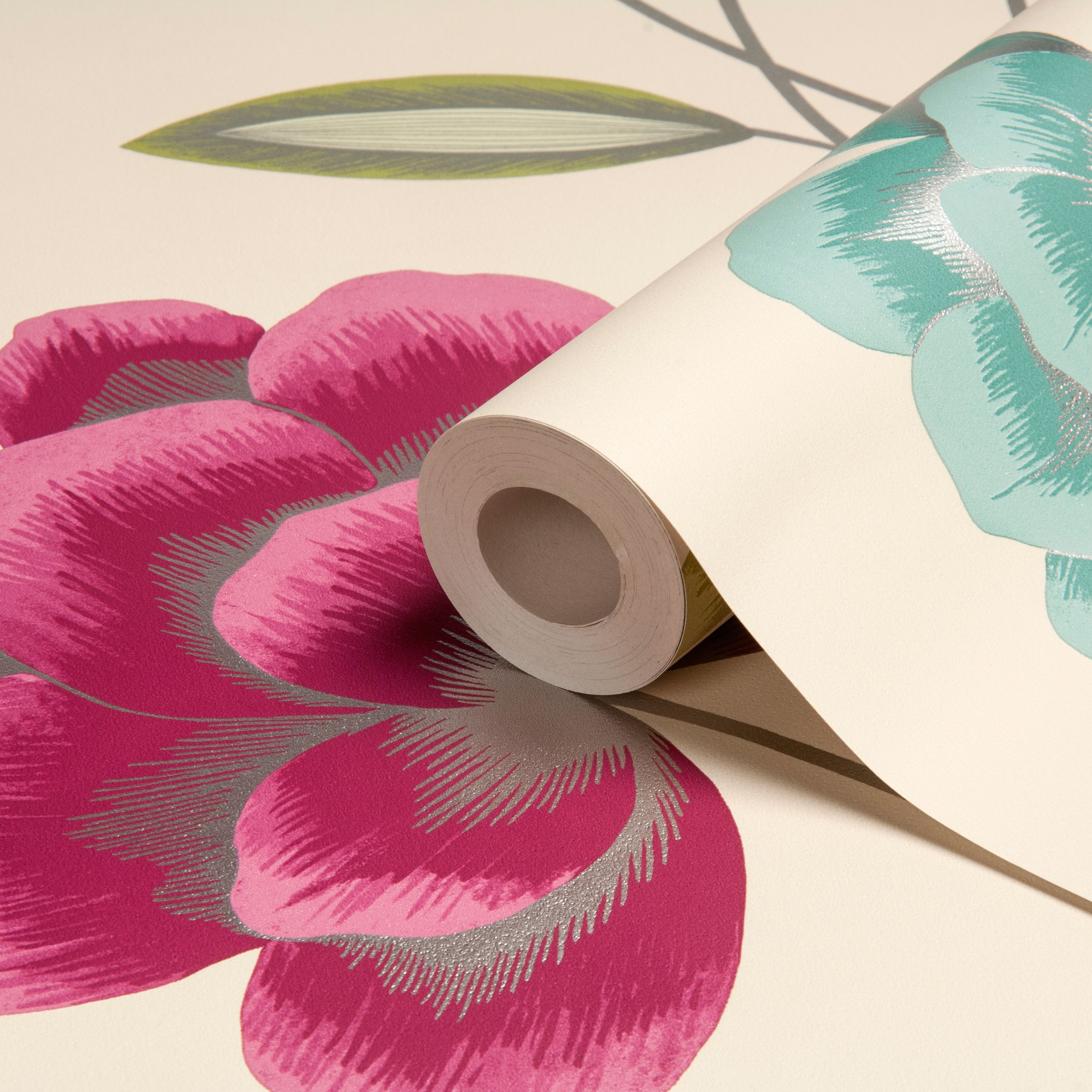 Statement Havana Lime Pink Turquoise Floral Wallpaper