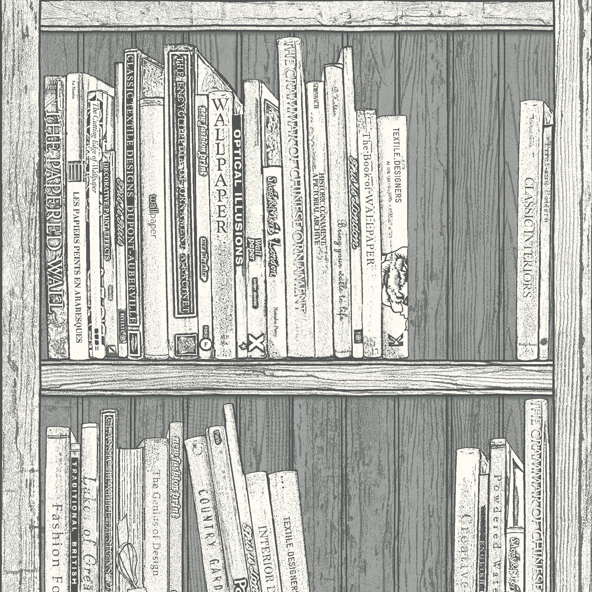 Statement Grey White Bookcase Wallpaper Clearance Diy At B Q